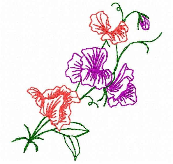 sweet pea embroidery # 5