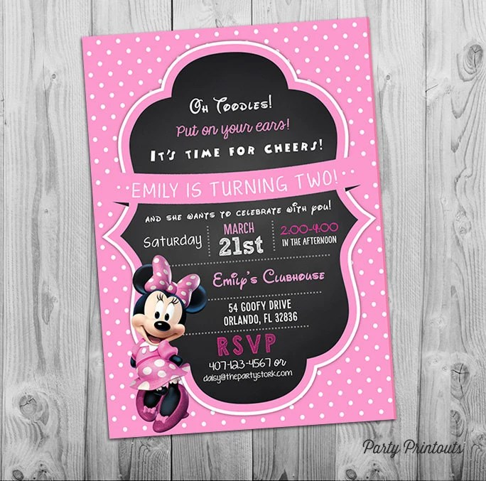 Printable Chalkboard Minnie Mouse Style Party Invite 1st 2nd 3rd Birthday Other Invitations