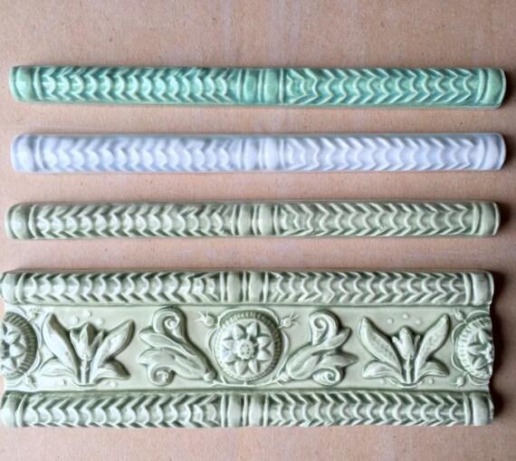 ceramic border tile buttermold series pencil listello etsy