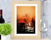 Abstract photography | Printable wall art | urban photography print | Woman and dog | Pet | Animal | Digital Art | mixed media | Orange