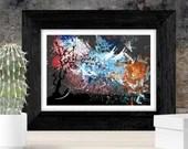 Rural abstract landscape painting blue, pink orange tree, Printable wall Art, original artwork Print, Gift idea, mixed media nature bohemian