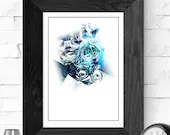 Blue Black acrylic abstra...