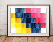 Mosaic watercolour print,...