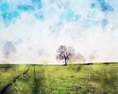 lone tree Green field Watercolor painting, Printable wall art, Original artwork print, Gift Idea, digital download, nature, countryside