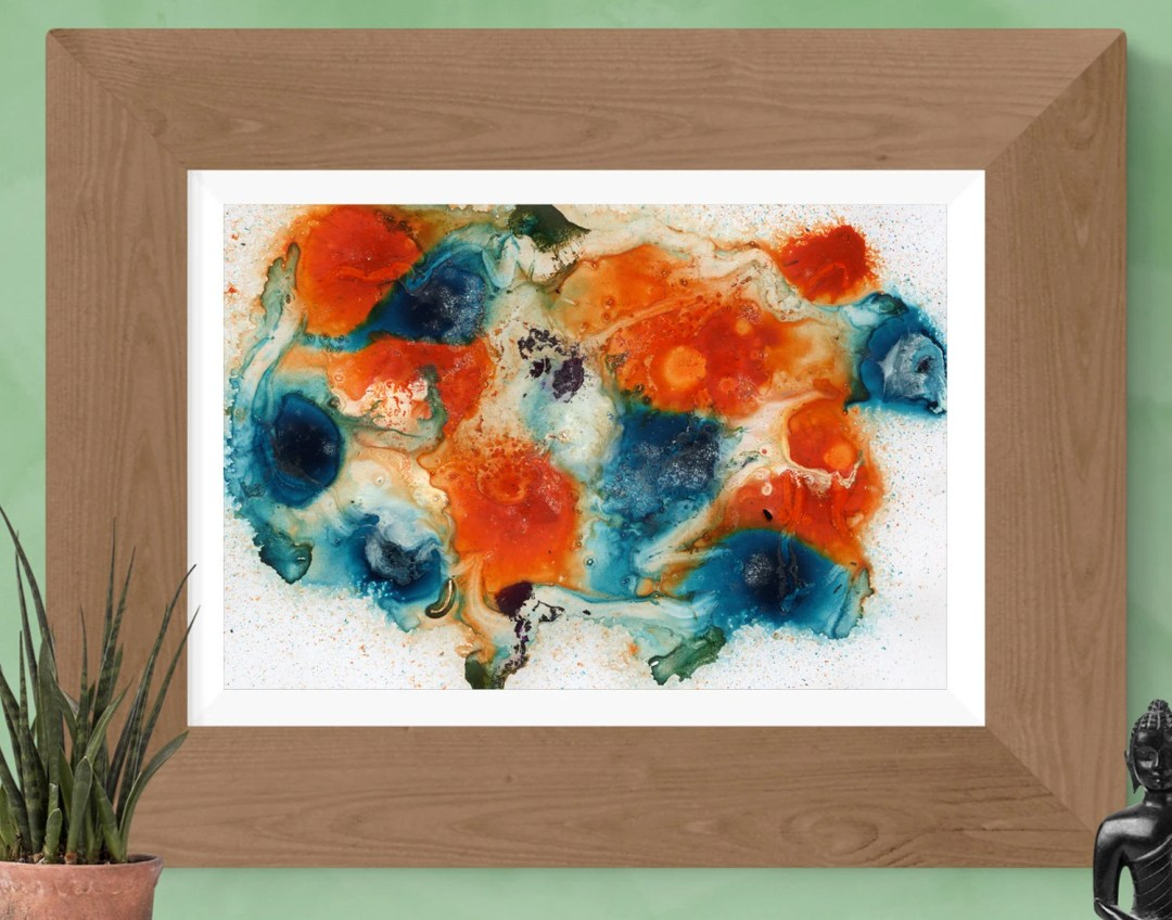 Blue orange abstract prin...