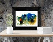 Orange blue abstract artw...