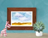 Desert watercolor painting | Sand | Clouds | Print | Printable wall art | Gift idea