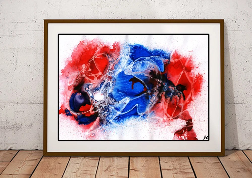 Blue and red abstract pai...