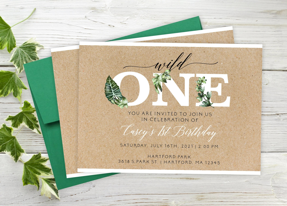wild first birthday invitations wild