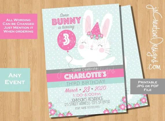 bunny invitations third birthday bunny