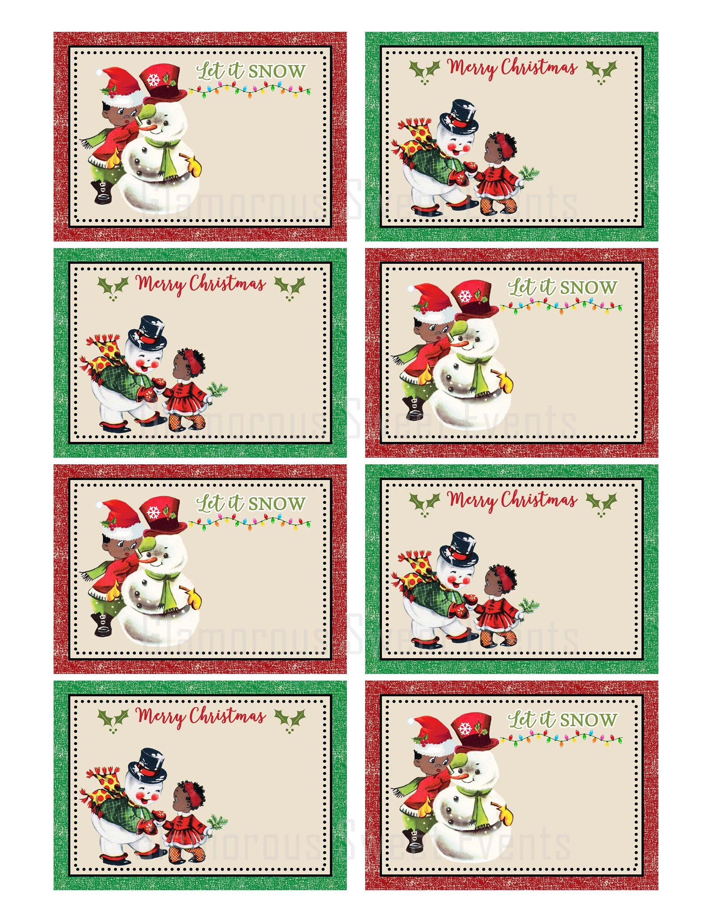 Instant Download African American Christmas Labels Vintage