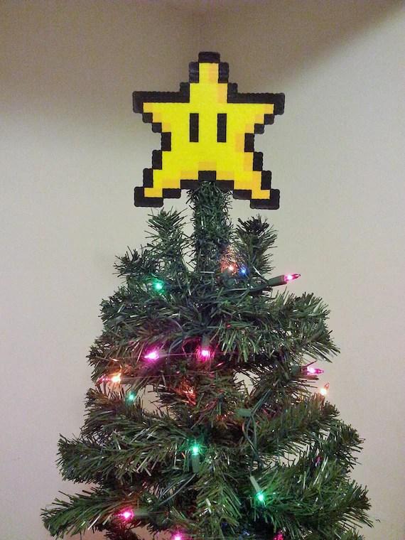 ORIGINAL Mario Bros Perler Bead Star Christmas Tree