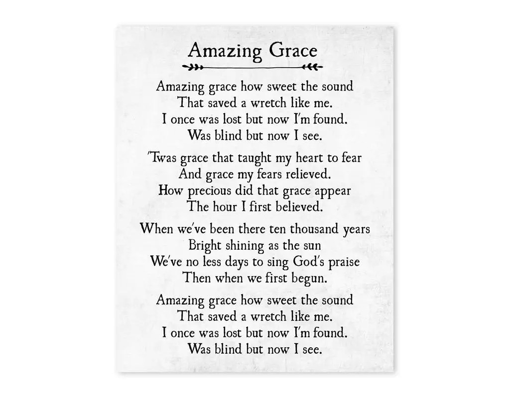 Amazing Grace Print Christian Wall Art Amazing Grace Wall