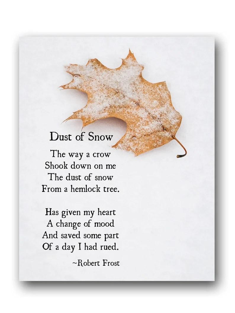 Robert Frost Poetry Art Print Dust of Snow Winter Poem image 0