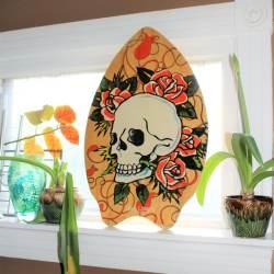 38331335e5504 Skim Lizard Surf Board Skull And Roses Ed Hardy Style 2007 Wall Decor