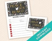 Peace Joy &  Bunco Scorecard and Table Marker Set - Instant Download Printable PDF (a.k.a. Bunko, score card, score sheet)