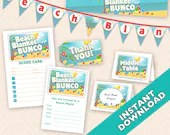 Beach Blanket Bunco Set - Instant download deluxe summer bunco set