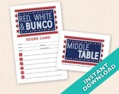 Red, White Bunco Scorecard and Table Card Set (a.k.a. Bunko, score card, score sheet)