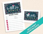 Christmas Bunco - Ho Ho Ho Santa Bunco Scorecard and Table Marker Set (a.k.a. Bunko, score card, score sheet)