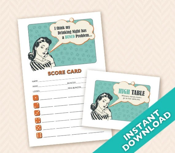 Retro Housewife Bunco Scorecard and Table Marker Set