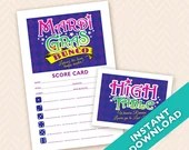 Mardi Gras Bunco Party set - Printable table markers and scorecards