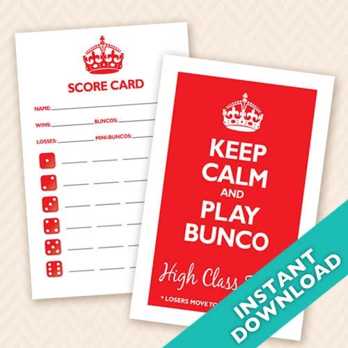 Keep Calm and Play Bunco, Printable Bunco Scorecard and Table Marker Set