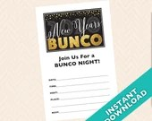 2020 New Years Bunco Invitation, January Bunco Theme, Printable New Years Bunco Invitation