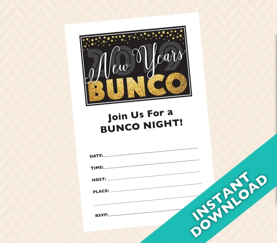 Printable New Years Bunco Invitation - 2019 New Years Bunco Theme, January Bunco Theme