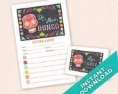 Dia de los Muertos Bunco - Printable Bunco Score and Table Card Set - Sugar Skull (a.k.a. Bunko, score card, score sheet)