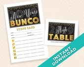 2019 New Years Bunco, January Bunco theme printable Scorecard and Table Marker Set