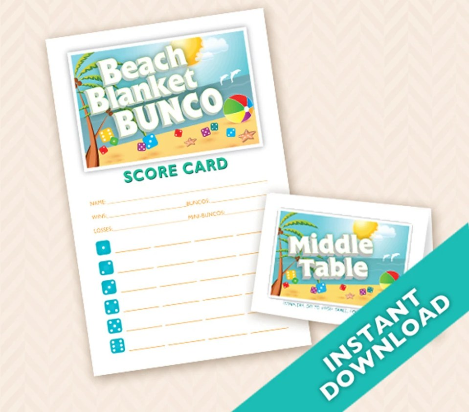 Beach Blanket Bunco - Printable Summer Bunco Theme