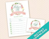 Mother's Day Bunco Score and Table Card Set - DIY download and print (a.k.a. Bunko, score card, score sheet)