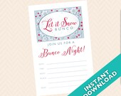 Let it Snow Bunco Invitation, Winter Bunco Theme (a.k.a. Bunko, score card, score sheet)