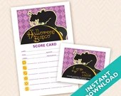 Printable Halloween Bunco Score and Table Card Set - Instant Download (a.k.a. Bunko, score card, score sheet)