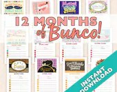 More than 20% OFF - 12 Months of Bunco - 12 Theme Bunco Score Sheet and Table Marker Sets