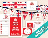 Instant Download Printable Bunco Party Decoration Set - British Theme (a.k.a. Bunko, score card, score sheet)