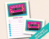 Downloadable 80s Themed Printable Bunco Score and Table Card Set (a.k.a. Bunko, score card, score sheet)