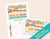 Downloadable Cinco De Mayo Printable Bunco Score and Table Card Set (a.k.a. Bunko, score card, score sheet)