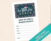 Christmas Bunco Invitation, December Santa Clause Bunco (a.k.a. Bunko, score card, score sheet)