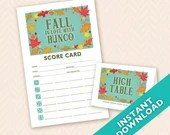 Fall in Love with Bunco Theme Scorecard and Table Marker Set