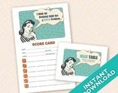 Retro Housewife Bunco Scorecard and Table Marker Set