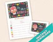 Dia de los Muertos Bunco Theme Scorecard and Table Marker Set