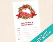 Downloadable Christmas Bunco Invitation - Merry Bunco (a.k.a. Bunko, score card, score sheet)