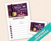 Wine and CheeseBunco Theme Scorecard and Table Marker Set