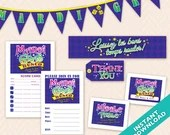 Mardi Gras Bunco  Party Decoration Set, Instant Download Printable Bunco Set