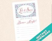 Let it Snow Bunco Invitation, Winter Bunco Theme (a.k.a. Bunko, score card, score sheet)