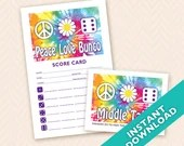 Printable 60s theme Bunco Scorecard and Table Marker Set - Peace, Love and Bunco (a.k.a. Bunko, score card, score sheet)