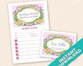 Printable Spring Garden Bunco Theme Scorecard and Table Marker Set