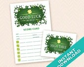 St. Patrick's Day Bunco Theme Scorecard and Table Marker Set