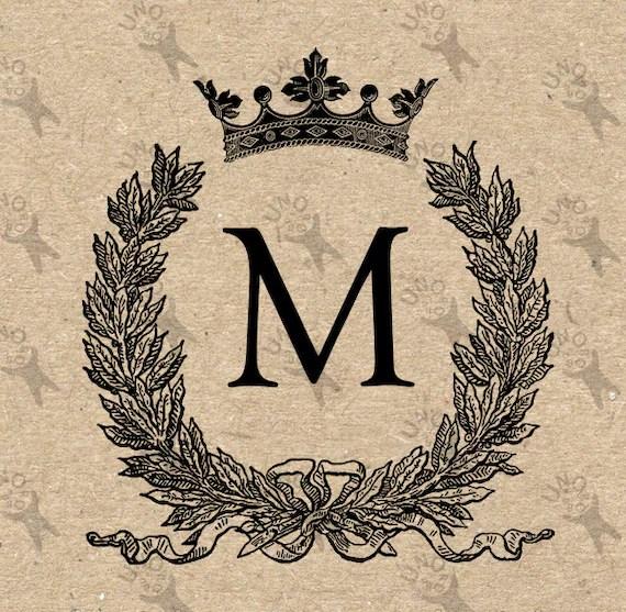 Vintage Monogram Initial Letter M Crown Instant Download Etsy